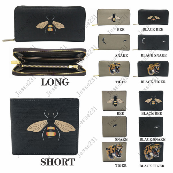 top popular High quality men animal Short Wallet Leather black snake Tiger bee Wallets Women Long Style Purse Wallet card Holders with gift box 2021