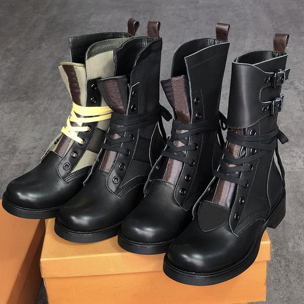 best selling New 20SS High Quality Leather Woman Nubuck Leather Belt Bundle Khaki Green Multicolor Martin Boot 3cm Waterproof Platform Motorcycle Boots