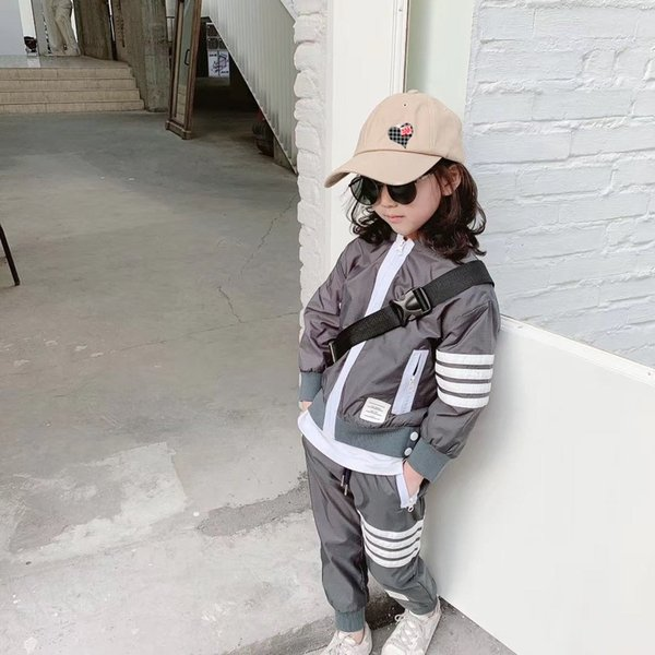 top popular N High quality double layer high density polyester fabric children's grey stormsuit hooded pocket boys and girls wear k8234 outdoor everyday 2020