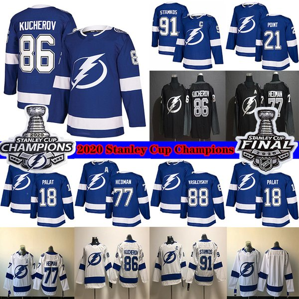 top popular Tampa Bay Lightning 2020 Stanley Cup Champions 86 Nikita Kucherov 77 Victor Hedman 91 Stamkos 21 Brayden Point 18 Palat Hockey Jerseys 2021