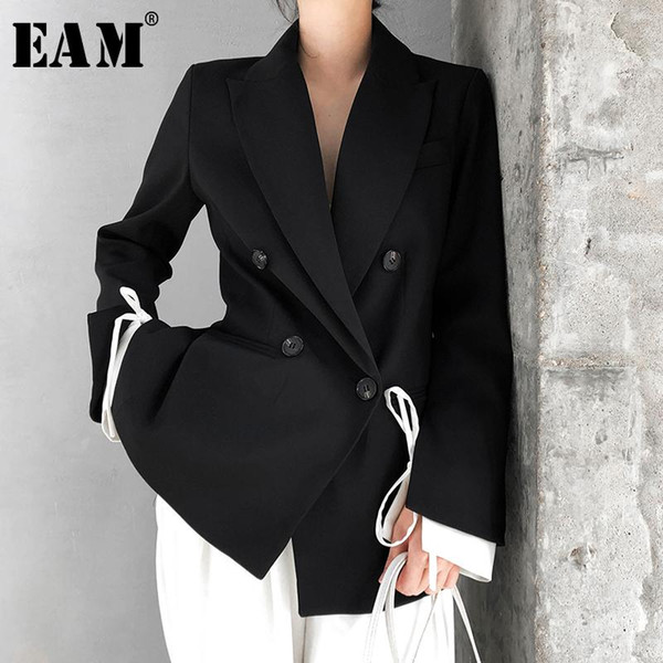 eam] women black cuff bandage temperament blazer new lapel long sleeve loose fit jacket fashion tide spring autumn 2020 1t476, White;black