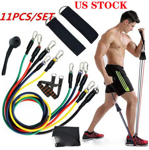 best selling US STOCK 11pcs set Exercises Resistance Bands Latex Tubes Pedal Body Home Gym Fitness Training Workout Yoga Elastic Pull Rope Equipment
