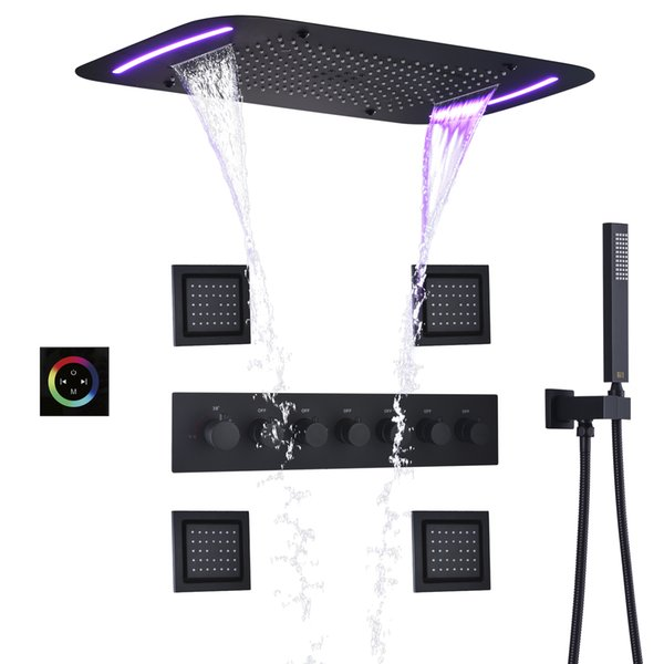 best selling DULABRAHE Thermostatic Bathroom Shower Faucet Set Waterfall Bath Mixer Panel Ceiling LED Rainfall Shower Head 71X43 CM Bath System
