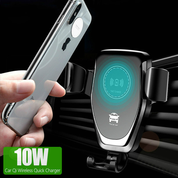 best selling New C12 10W Car Mount Wireless Charger for Quick Qi Fast Charging Car Phone Holder For Samsung S10 S9 S8 Plus MQ60-1