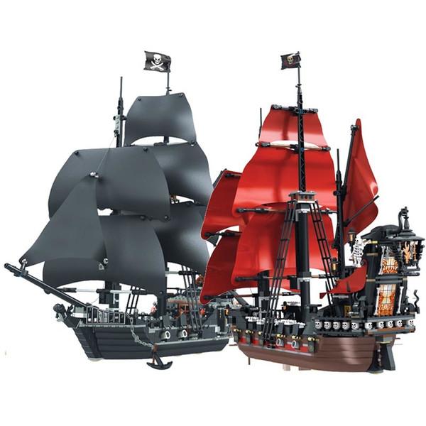 top popular Black Pearl Ship Queen Anne's Revenge Pirates Caribbean Bricks Pirates Ship Boat Model Building Blocks Boys Gifts Toys 1008 2021