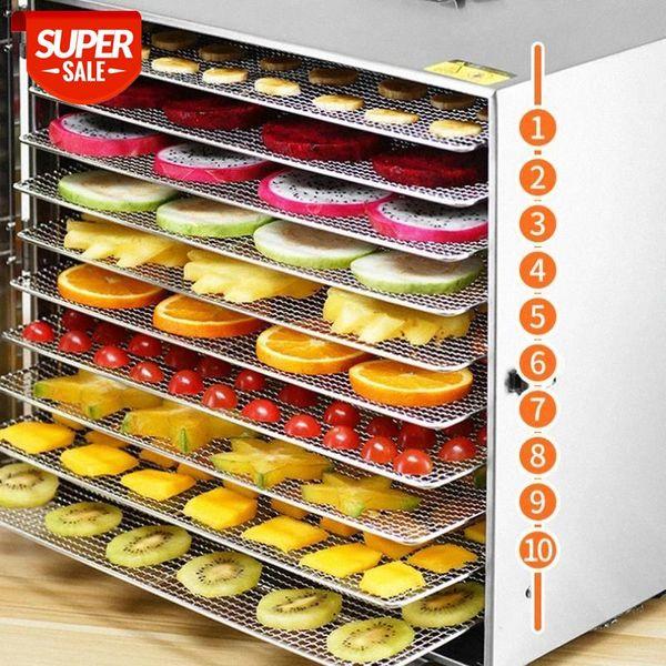 top popular 10 Trays Food Dehydrator Stainless Steel Pet Snacks seafood Scented tea Dryer Fruit Vegetable Herb Meat Dry Machine 110v 220V #jJ6J 2021