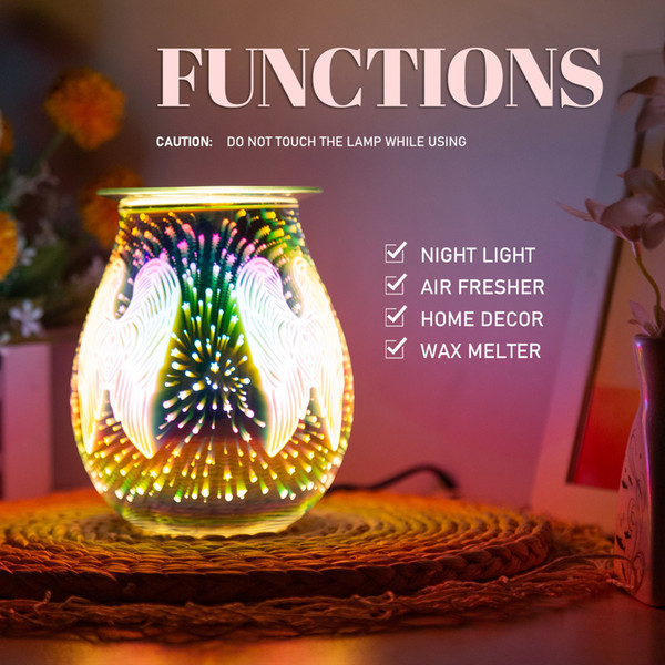 best selling 2021 New Electric Wax Melt Fragrance Warmer Glass Tart Melter with 3d Effect Night Light for Home Office Bedroom M6on