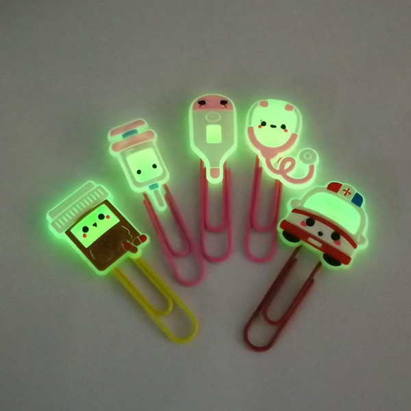 top popular 1PCS Hot Designs Glowing PVC Bookmarks Luminous Paper Clips School Stationery Office Supply Page Holder Teacher Gift 2021