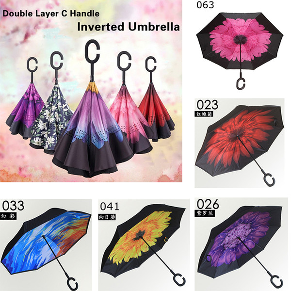best selling 64 Colors Creative Folding Inverted Umbrellas With C & J Handle Double Layer Rainproof Windproof Reverse Umbrellas YM001