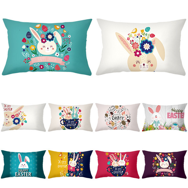top popular 2020 Fresh Series Cartoon Waist Rabbit Pillow Case Rectangular Peach Skin Velvet Pillow Cover Sofa Pillow Cover 2021