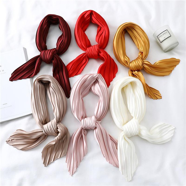 top popular Women's Small Silk Square Scarf Crinkle Hair Scarfs for Ladies Summer Pleated Scarves Solid Female Foulard Neckerchief 100*30CM 2021