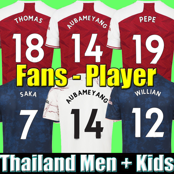 top popular Fans Player version Arsen 4th soccer jersey 20 21 PEPE SAKA NICOLAS TIERNEY HENRY WILLIAN MAITLAND-NILES 2020 2021 football shirts Men KidS 2021