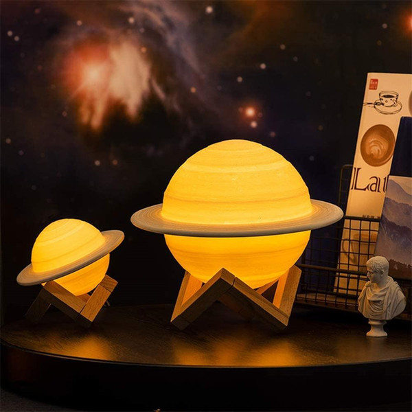 top popular 2021 New Dropship Usb Rechargeable 3d Print Saturn Home Decoration Bedroom Moon Night Light with 2colors 16colors Remote Xmas Gift 4r8h 2021
