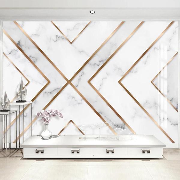 top popular Custom Mural Wallpaper Modern 3D Golden Line Geometric Marble Wall Paper Living Room TV Background Wall Decor Papel De Parede 3D 2021