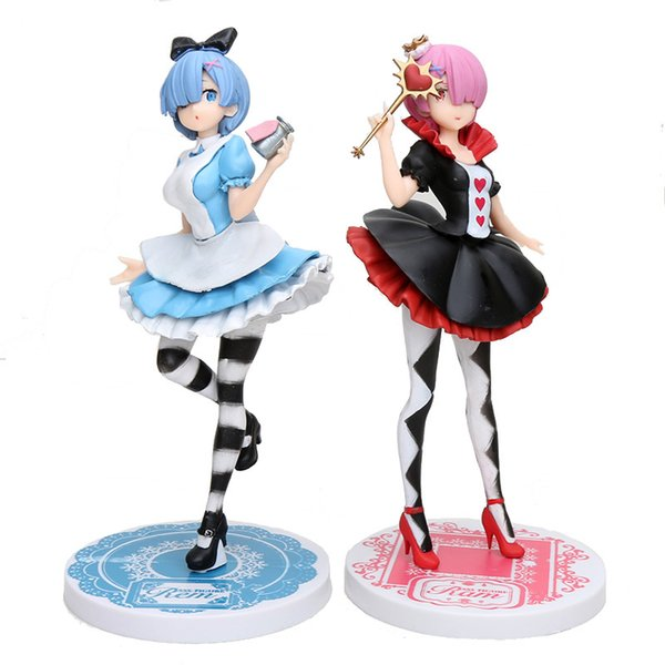 best selling 21-25cm anime figure Re:Life in a different world from zero Ram Rem in Wonderland action figure model Toy Great Gifts 1008
