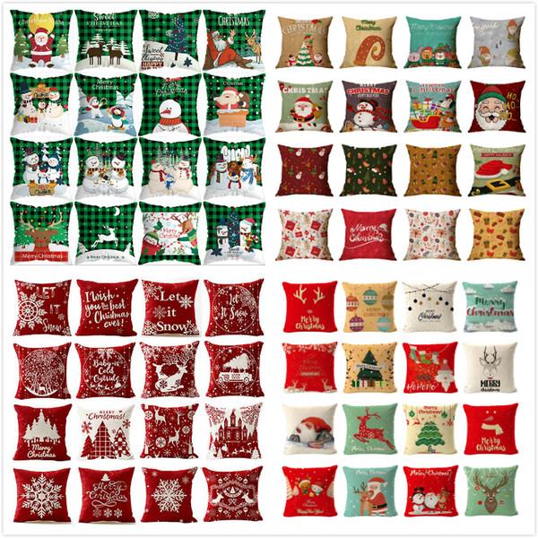 top popular 176 Designs Christmas Pillow Case Santa Claus Christmas Tree Snowman Pillow Case Colorful Pillow Cover Home Sofa Car Decor Cushion 2020