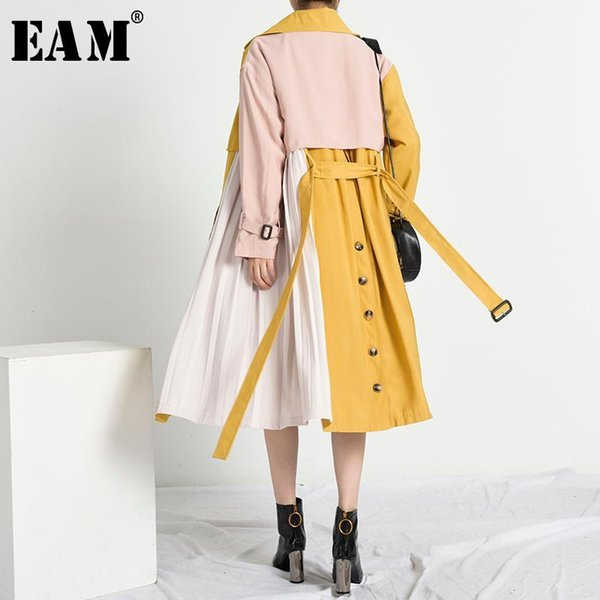 eam] women pleated split big size long trench new lapel long sleeve loose fit windbreaker fashion tide spring 2020 1x779071, Tan;black