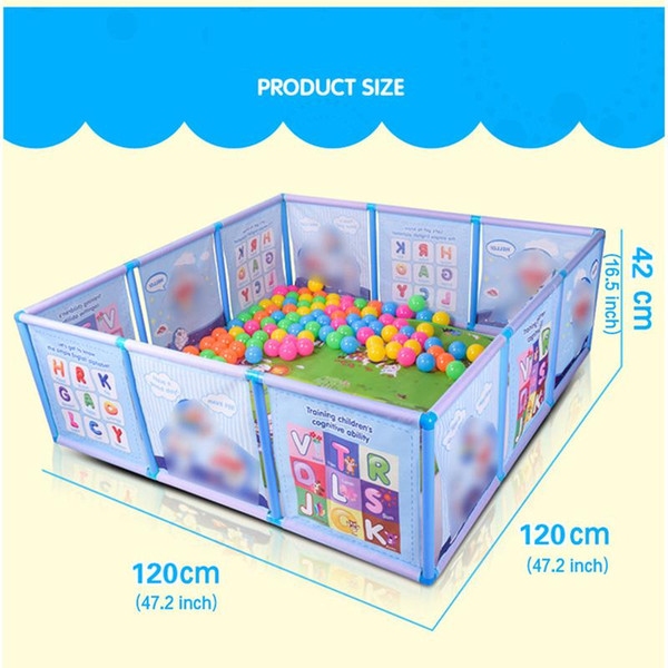 best selling Cartoon Children Kids Plastic Play Fence Baby Safety Fence Pool Baby Game Toddler Crawling Crawl Safety Pool Balls 100 Pcs 6CM