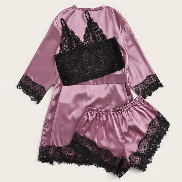 3Pieces/Lot 3pc Pijama Women Pajamas Sets Sexy Lace Bralette Shorts Bathrobe Nightwear Sleepwear Suits Satin Pajamas For Women Pijama Mujer
