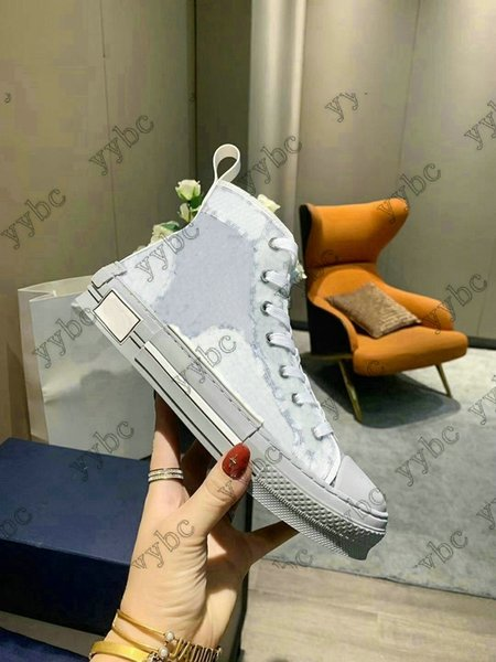 best selling Classic 19SS B23 B24 Oblique High Top Low Top Sneakers Obliques Printing Technical Leather 19SS Technical Athletic Sneaker Shoes