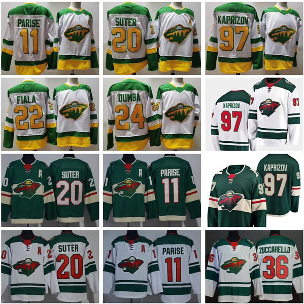 top popular Reverse Retro Hockey Minnesota Wild 97 Kirill Kaprizov Jersey 11 Zach Parise Ryan Suter Kevin Fiala Mats Zuccarello Matt Dumba Green White 2021