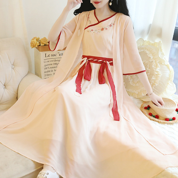 new Han Suit Chinese style Chiffon Ancient Element Summer Ethnic Super Fairy Long Cocktail Dresses Coctail Dresses For Party 189