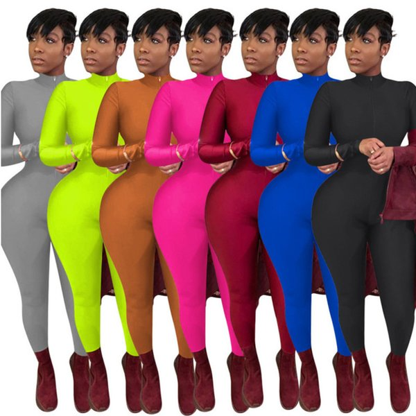 top popular Women Jumpsuit Designer Slim Sexy Solid Color Zipper Long Sleeve Pants Ladies New Fashion Tight Rompers Onesies Dhl 2020 2020