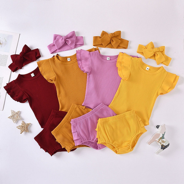 best selling Summer Baby Girl Suit Baby Pit Striped Cotton Flying Sleeve Romper + Triangle Shorts + Heabands 3Pcs Set Newborn Clothing Sets M3259