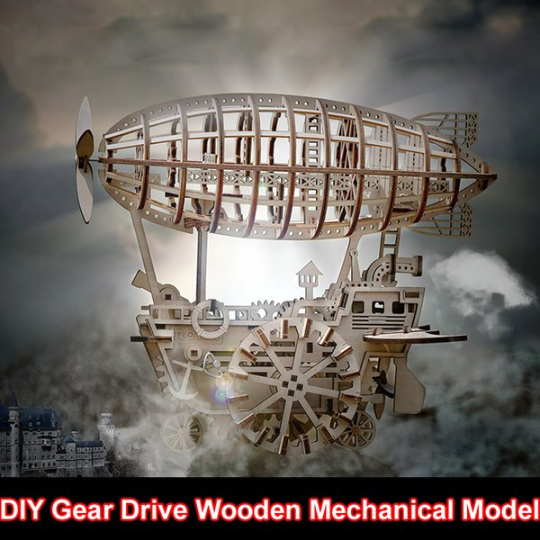 top popular Free shipping 3D Puzzle DIY Gear Drive Wooden Mechanical Model Airship Engineering Toy Mechanical Gears set Building Kits Assembly Toy Gift 2020