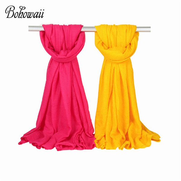 best selling BOHOWAII Shawl Oversized Scarf Winter Echarpe Hiver Femme 170x50cm Cotton Blends Long Hijab for Women