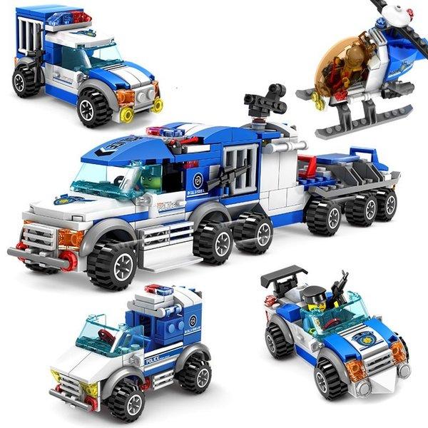 top popular Urban Police Series 4 in 1 model building blocks figurine designer helicopter l car Developing ings toys for children 2020