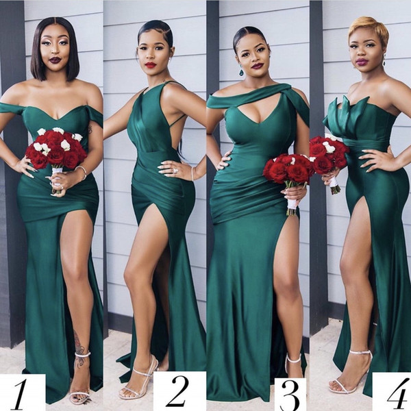 top popular Dark Green African Bridesmaid Dresses 2021 Mermaid Split Maid Of Honor Gowns Formal Wedding Party Guest junior Dress 2021