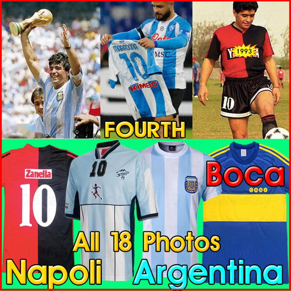 top popular Maradona retro napoli Fourth soccer jersey 93 81 87 88 89 1986 78 94 98 2001 06 NEWELLS OLD BOYS Argentina boca Juniors football shirt kits 2021