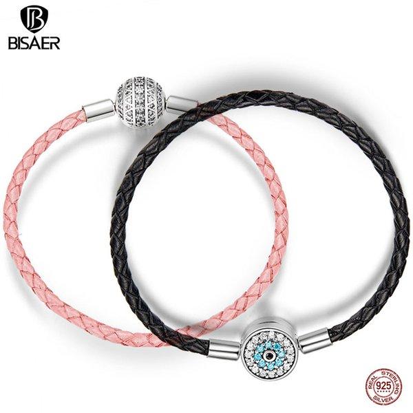 ine jóias bisaer real 925 esterlina prata corda corda pulseiras de couro para mulheres limpar CZ rodada fecho corda pulseiras de prata jóias ecb ...