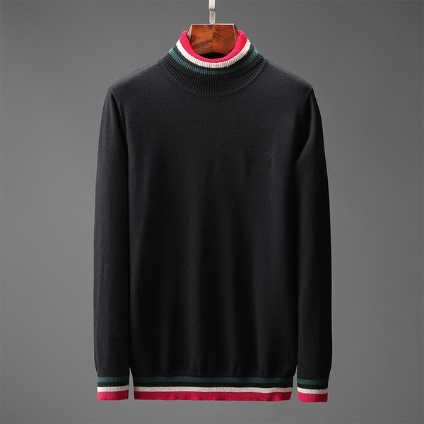 top popular Mens sweaters Long Sleeve Thick Top Autumn Spring man high quality fashion clothing embroidery letter bee pullover Sweater black Coat jumper 2020