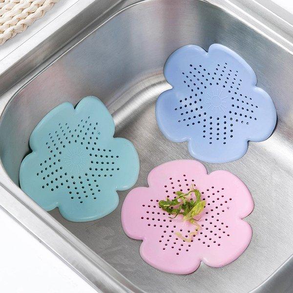 best selling Sinks Drain Filter Flower Shape Kitchen Sink Strainer Bathroom Hair Drain Silicone Sewer Filter Kitchen Bathroom Tools