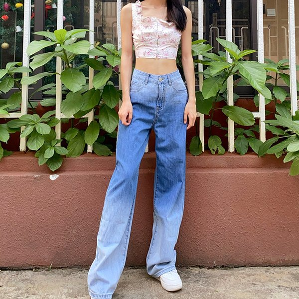 best selling Womens new arrival high waist stretch loose jeans blue fashion gradient color womens jeans Size S-XL