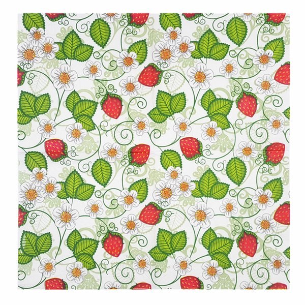 top popular strawberry free towel shipping hot Fresh sale Creative pattern Color printed napkins Dining room knife and for 2021