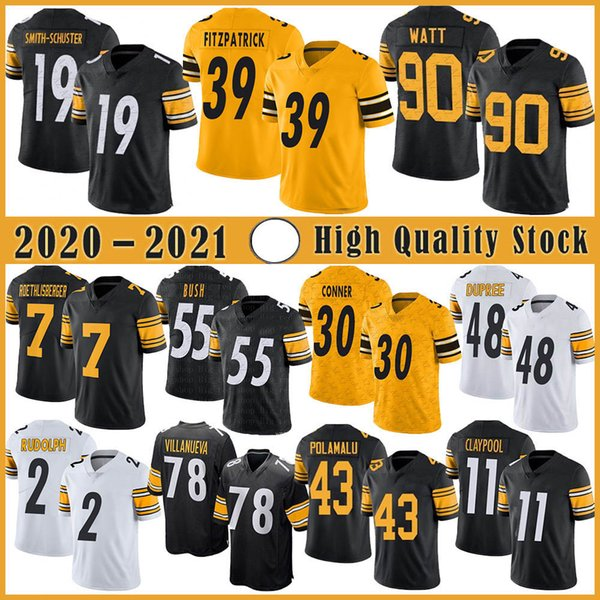 top popular 7 Ben Roethlisberger Football Jersey 90 T.J. Watt 19 JuJu Smith-Schuster 11 Chase Claypool 48 Bud Dupree 30 James Conner Minkah Fitzpatrick 2021