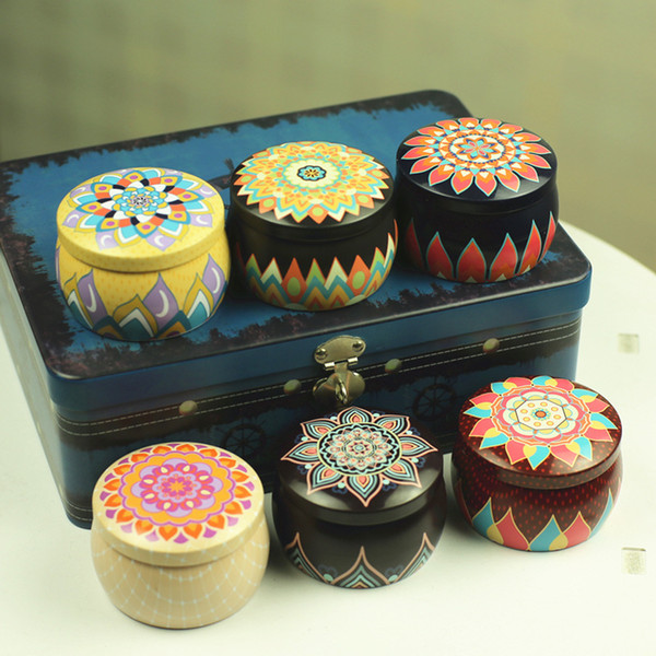 best selling Candle Tin Can Tinplate Jar Empty Scented Candle Container Drum Shape Chocoate Cookie Candy Storage Vintage Wedding Gift Box