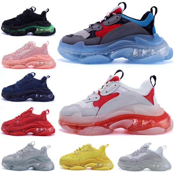 top popular 2021 men women Casual Dad designer Shoes neon green Triple S 17FW Sneakers Tripler Black Pink Crystal clear sole Bottom Paris Platform 2021