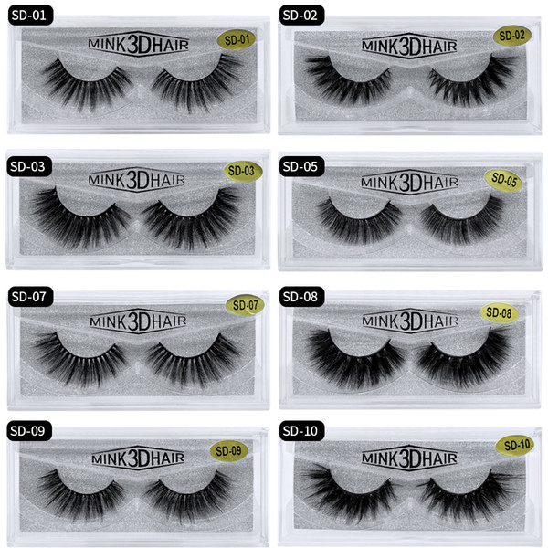 best selling SD Series Single pair eyelashes 3D mink eyelash pure mink thick multi-layer sharpening eyelashes extension eyelash boxes make up wholesale