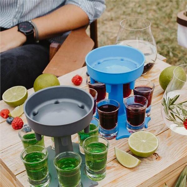 top popular 6 Shot Glass Dispenser Holder Wine Whisky Beer Dispenser Rack Bar Accessories Caddy Liquor Dispenser Party Games Drinking Tools DHL 2021