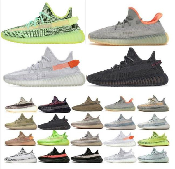 top popular 2021 Kanye West Static Running Shoes Yecheil Black StaticIsrafil Cinder Desert Sage Earth Tail Light Zebra Womens Mens Trainers Sneakers 2021
