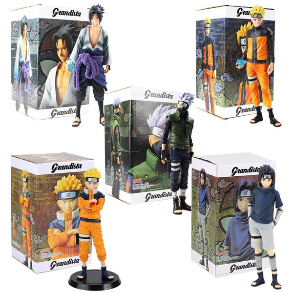 top popular 28cm Anime Naruto Figures Uzumaki Naruto Uchiha Sasuke Hatake Kakashi Grandista Collectible Model Toys PVC Figurine X0121 2021