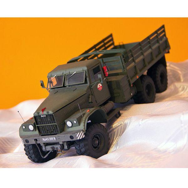 top popular 1:25 kraz-255b Soviet 3-D paper truck military vehicle manual fan 2021