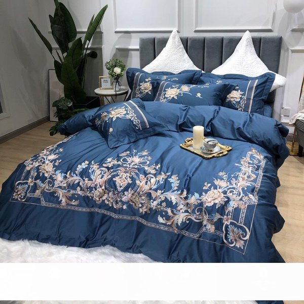 top popular European-Style Simple 80 Double-Strand Long-Staple Cotton Embroidered Four-Piece Set Machine Embroidery Quilt Cover Cotton American Bedding 2021