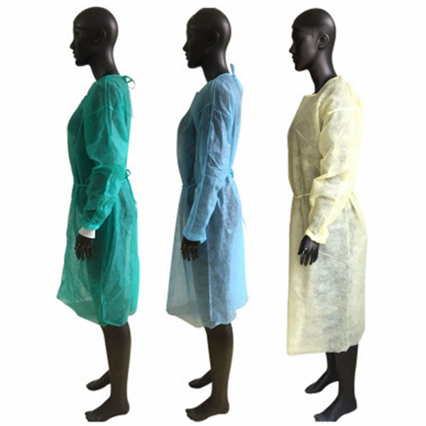 top popular Disposable Isolation Gown PP Non-woven Work Clothes Tattoo Dust Gown Gown Isolation Protective Waterproof Apron EEA1888 2021