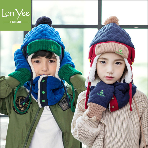 best selling Winter Children Warm Ear Protection Trapper Hat Set Cute Outdoor Windproof Ushanka Hats Boys Girls Kid Cap New Year Gifts Hat YL0176