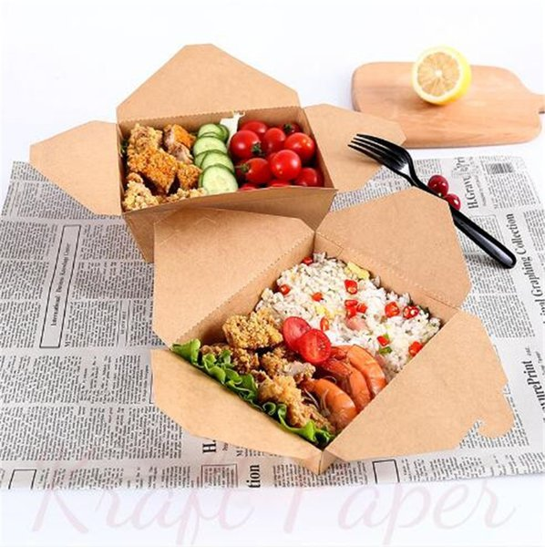 best selling Takeaway Paper Disposable Fast Food Kraft Lunch Folding Rectangular Box Tearable Packing Boxes A02